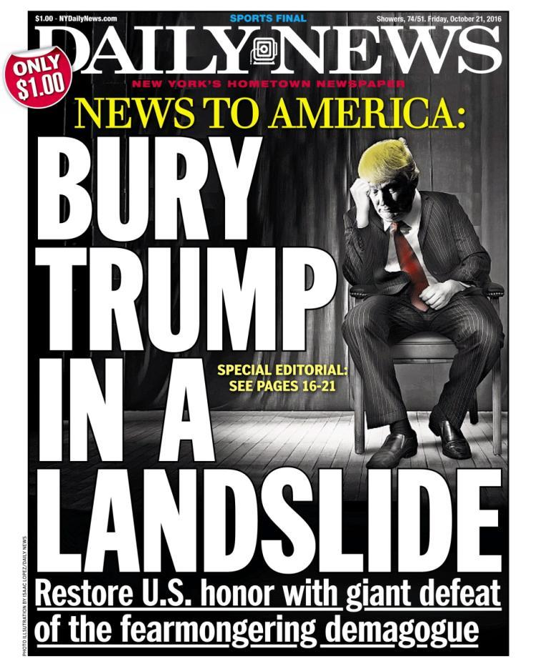 "New York Daily News: ""Bury Trump in a Landslide"". Excellent 14-Part Takedown Goes Nuclear on Trump"