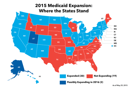 2015 Medicaid expansion by state.