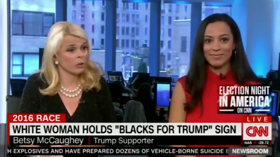 Watching Trump Surrogate Try to Defend Old White Lady Holding 'Blacks for Trump' Sign is Fantastic (Video)