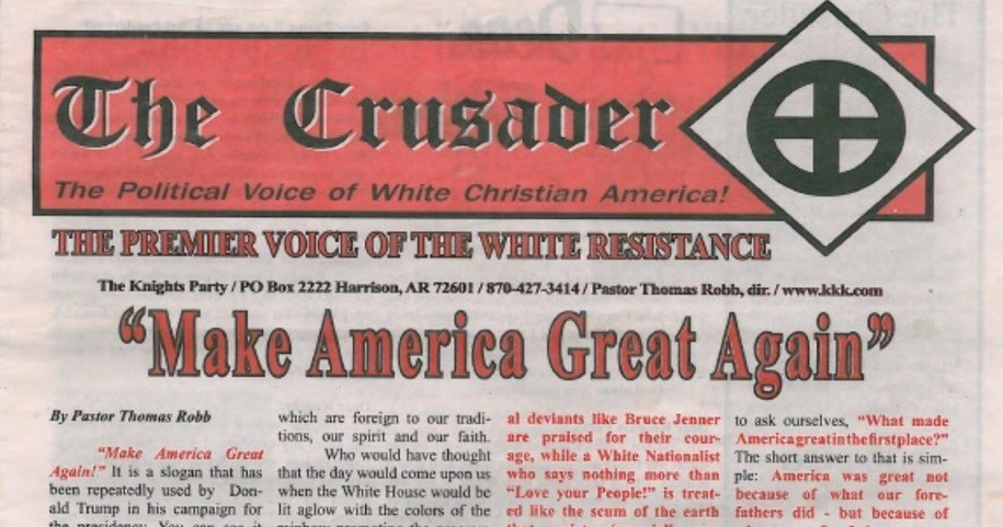 KKK newspaper endorsing Donald Trump