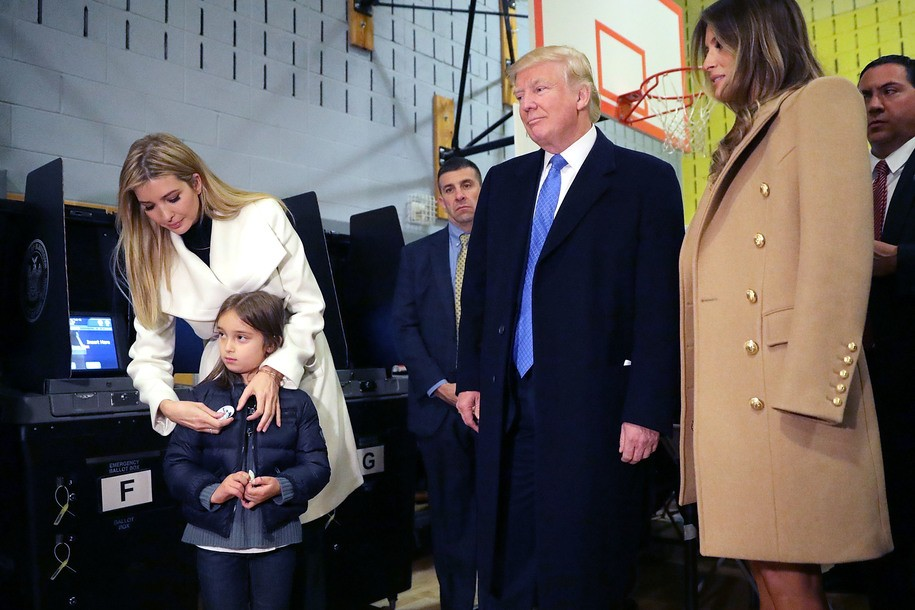 NEW YORK, NY - NOVEMBER 08: Republican presidential nominee Donald Trump is joined by his wife Melania Trump (R), daughter Ivanka Trump (L) who places an 'I voted' sticker on her daughter Arabella Rose Kushner after they vote on Election Day at PS 59 November 8, 2016 in New York City. Trump's marathon final two days of campaigning marched through 10 cities in two days, stretching into Election Day. (Photo by Chip Somodevilla/Getty Images)