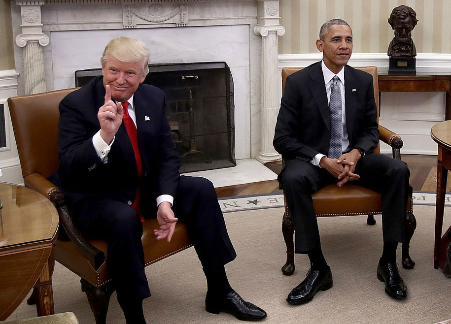 WASHINGTON, DC - NOVEMBER 10:  President-elect Donald Trump (L) talks after a meeting with U.S. President Barack Obama (R) in the Oval Office November 10, 2016 in Washington, DC. Trump is scheduled to meet with members of the Republican leadership in Congress later today on Capitol Hill.  (Photo by Win McNamee/Getty Images)