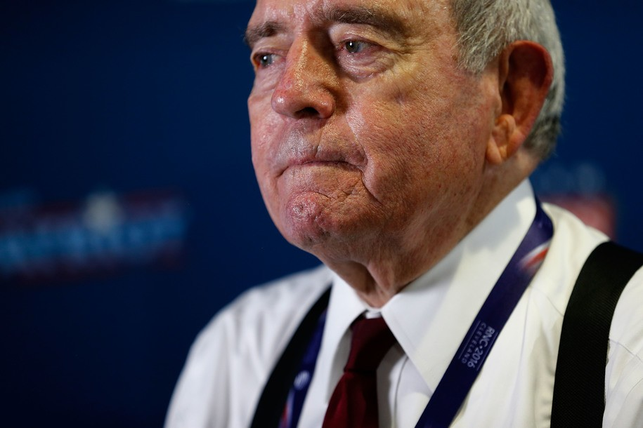 CLEVELAND, OH - JULY 18: Dan Rather prepares to record a Facebook Live interview while in the SiriusXM radio booth at Quicken Loans Arena on July 18, 2016 in Cleveland, Ohio. (Photo by Kirk Irwin/Getty Images for SiriusXM)