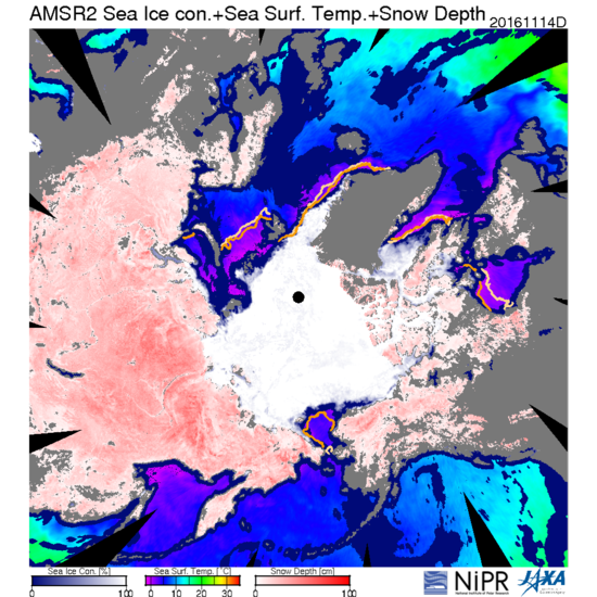 The Arctic was at Record low sea ice extent for yesterday