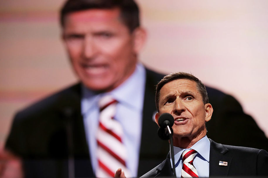 CLEVELAND, OH - JULY 18:  Retired Lt. Gen. Michael Flynn delivers a speech on the first day of the Republican National Convention on July 18, 2016 at the Quicken Loans Arena in Cleveland, Ohio. An estimated 50,000 people are expected in Cleveland, including hundreds of protesters and members of the media. The four-day Republican National Convention kicks off on July 18.  (Photo by Chip Somodevilla/Getty Images)
