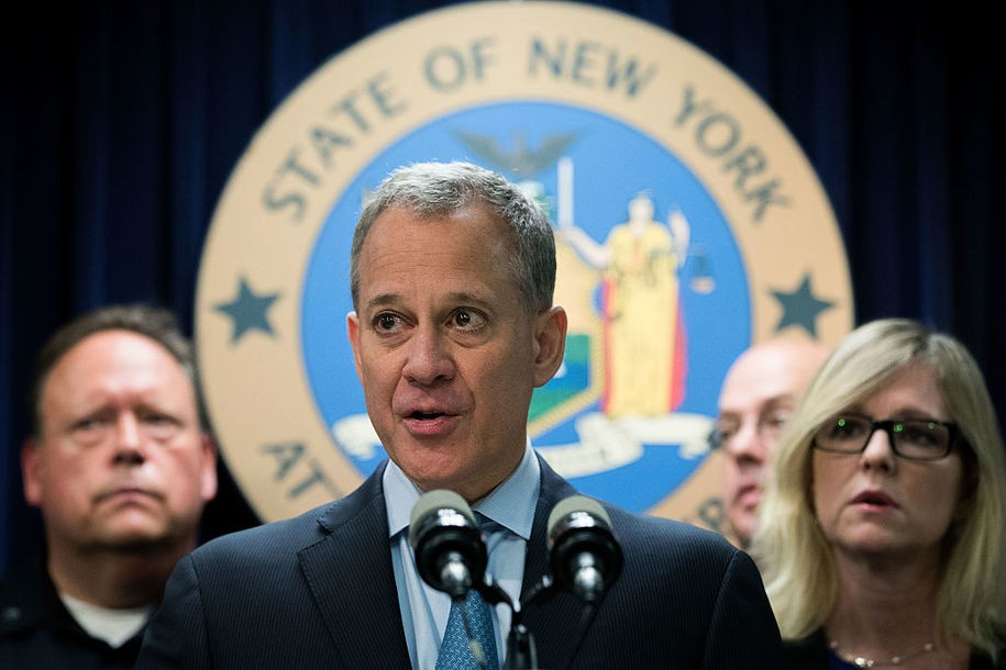 NEW YORK, NEW YORK - SEPTEMBER 23: New York Attorney General Eric Schneiderman speaks during a press conference regarding a major drug bust, at the office of the New York Attorney General, September 23, 2016 in New York City. Scheiderman's office announced Friday that authorities in New York state have made a record drug bust, seizing 33 kilograms of heroin and 2 kilograms of fentanyl. According to the attorney general's office, it is the largest seizure in the 46 year history of New York's Organized Crime Task Force. Twenty-five peopole living in New York, Massachusetts, Pennsylvania, Arizona and New Jersey have been indicted in connection with the case. (Photo by Drew Angerer/Getty Images)