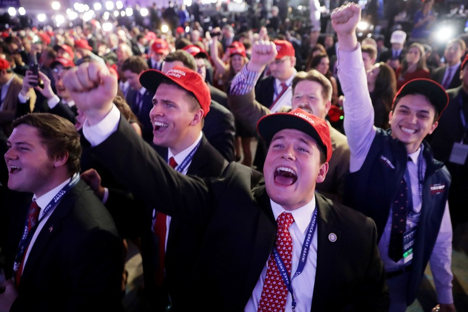 NEW YORK, NY - NOVEMBER 08:  Supporters of Republican presidential nominee Donald Trump cheer during the election night event at the New York Hilton Midtown on November 8, 2016 in New York City. Americans today will choose between Republican presidential nominee Donald Trump and Democratic presidential nominee Hillary Clinton as they go to the polls to vote for the next president of the United States.  (Photo by Chip Somodevilla/Getty Images)