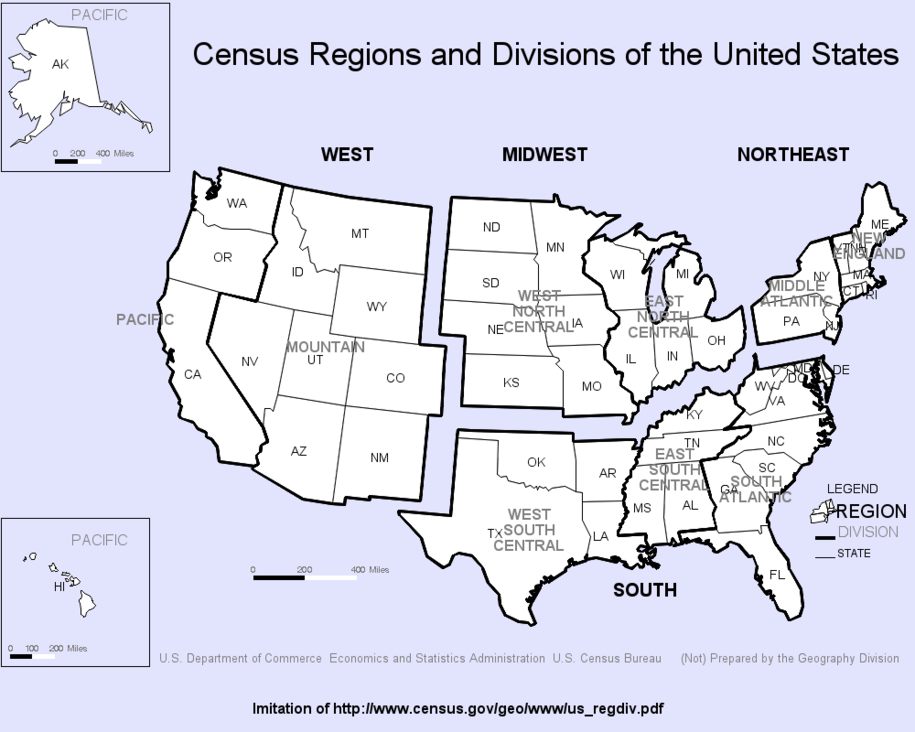 Question: Which US Region/Division do you live in, if any?