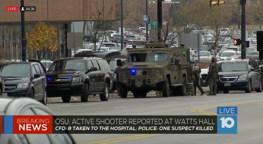 Police on the Ohio State University campus responding to a shooter