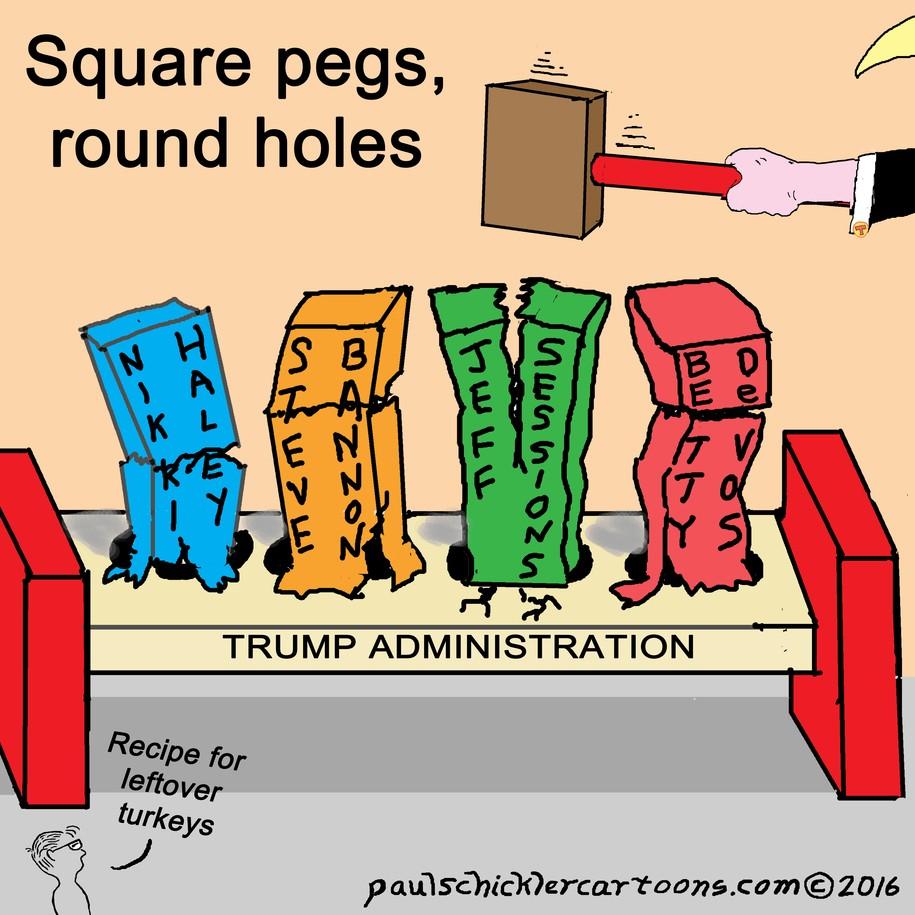 Cartoon: Square pegs, round holes - the Trump picks Daily Kos