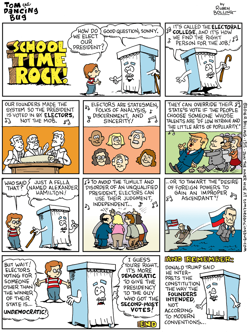 Cartoon: School Time Rock—Time to use the Electoral College