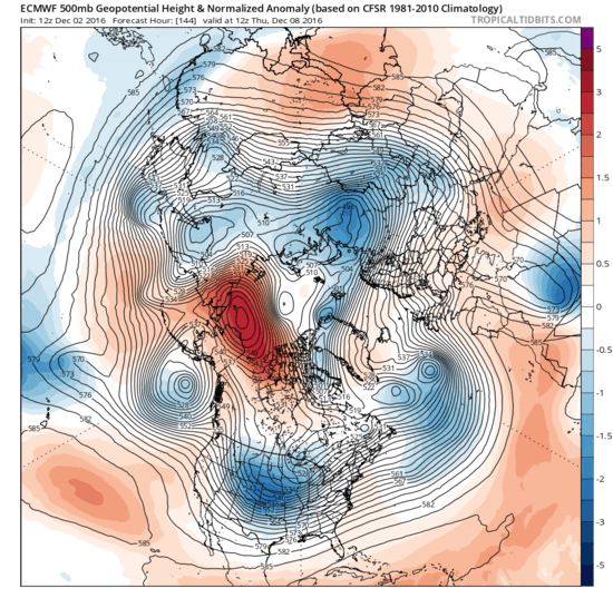 The development of an extremely intense blocking high over the Alaska side of the Arctic ocean will bring Siberian air to north America.
