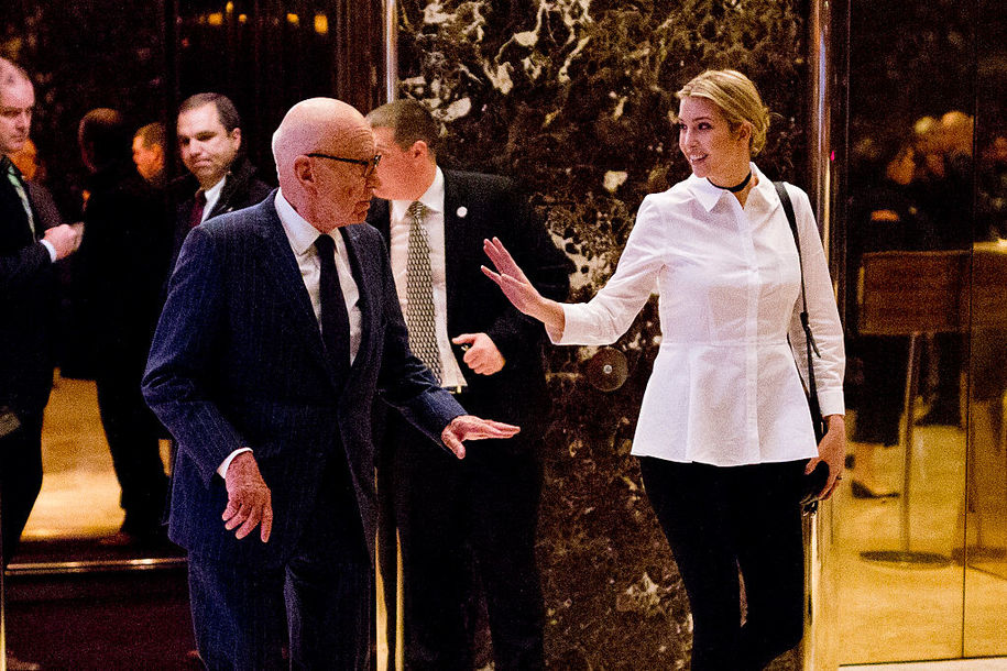 Ivanka Trump and Rupert Murdoch leave Trump Tower in New York on November 18, 2016.  / AFP / DOMINICK REUTER        (Photo credit should read DOMINICK REUTER/AFP/Getty Images)