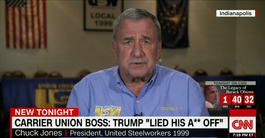 Carrier Union Boss Chuck Jones Just Wrote a Scathing Op-ed to Trump: 'I'm Tired of Being Lied To'