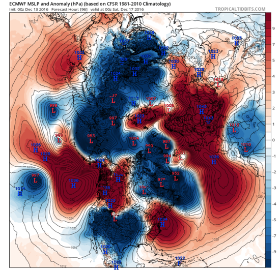 5 day ECMWF weather forecast shows storms entering the Arctic from both the Atlantic and Pacific. The winds will bring enormous amounts of  atmospheric heat, taken from the Atlantic and Pacific oceans into the Arctic.