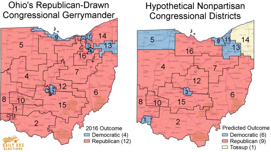 heres what ohio might have looked like in 2016 without congressional gerrymandering