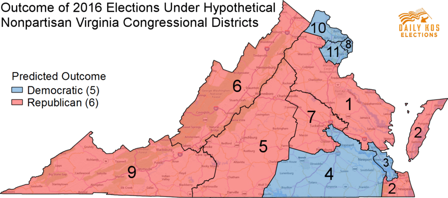 predicted outcome of 2016 congressional elections using a hypothetical nonpartisan virginia congressional map