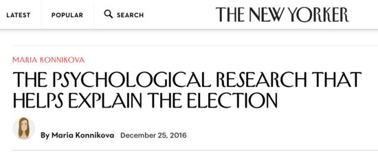 Making scientific sense of how Trump won New Yorker psychology