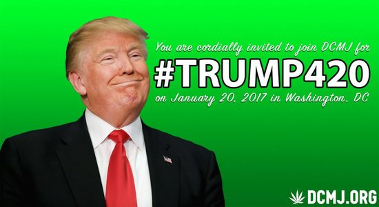 promo graphic for Trump420 inauguration event sponsored by the DC Cannabis Cialition