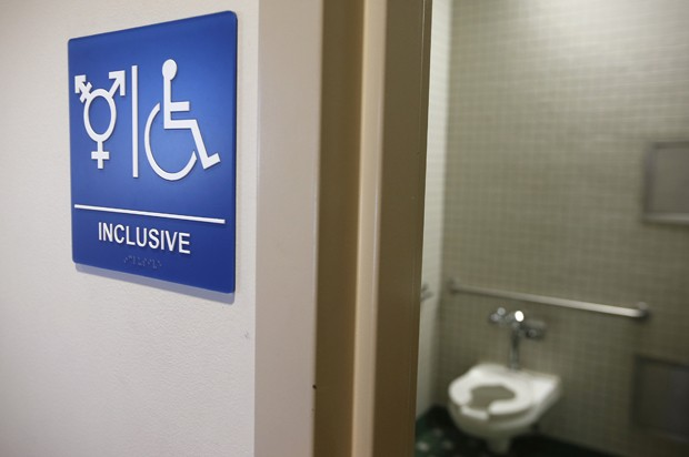 A gender-neutral bathroom is seen at the University of California, Irvine in Irvine, California September 30, 2014. The University of California will designate gender-neutral restrooms at its 10 campuses to accommodate transgender students, in a move that may be the first of its kind for a system of colleges in the United States. REUTERS/Lucy Nicholson (UNITED STATES - Tags: EDUCATION SOCIETY POLITICS) - RTR48EXM