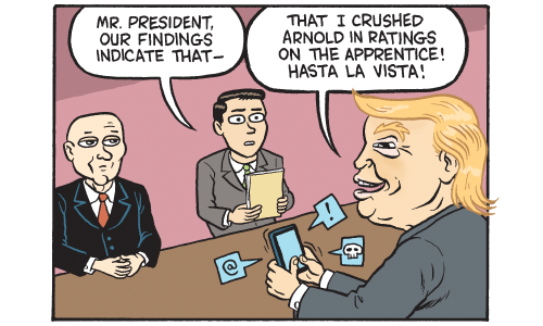 Cartoon by Matt Bors -- Trump's intelligence briefing