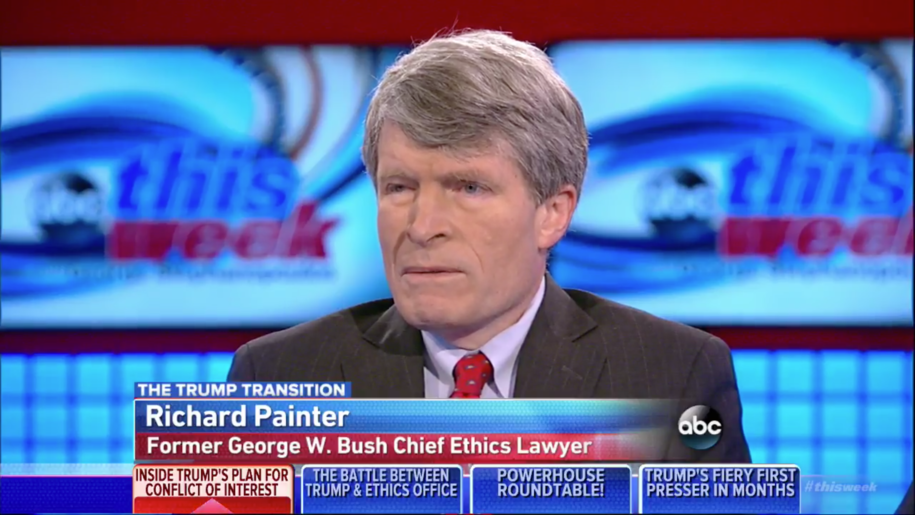 Screenshot of George W. Bush ethics attorney Richard Painter on ABCNews talking about the Trump Transition.
