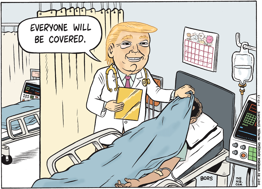 Image result for trump healthcare covers everyone cartoon