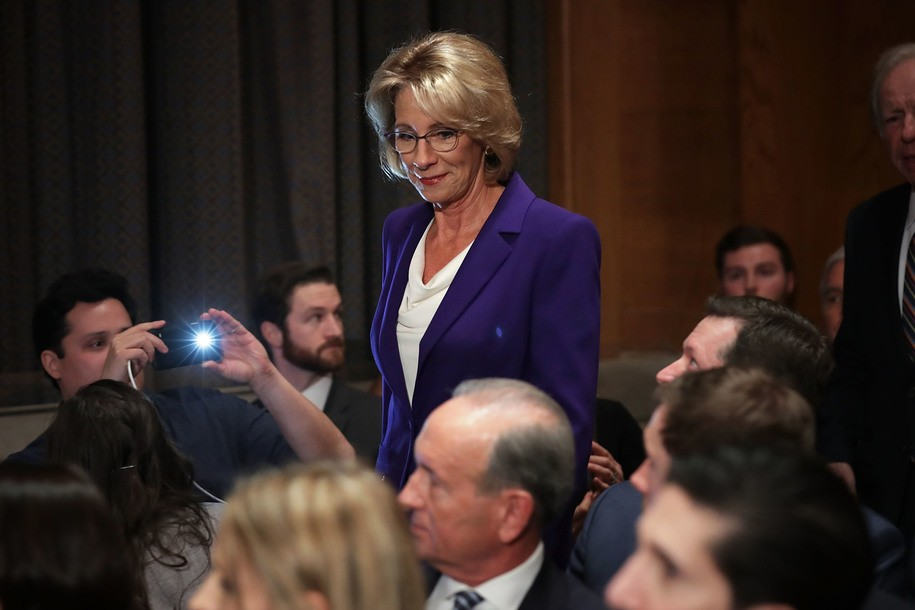WASHINGTON, DC - JANUARY 17: Betsy DeVos, President-elect Donald Trump's pick to be the next Secretary of Education, arrives for her confirmation hearing before the Senate Health, Education, Labor and Pensions Committee in the Dirksen Senate Office Building on Capitol Hill January 17, 2017 in Washington, DC. DeVos is known for her advocacy of school choice and education voucher programs and is a long-time leader of the Republican Party in Michigan. (Photo by Chip Somodevilla/Getty Images)