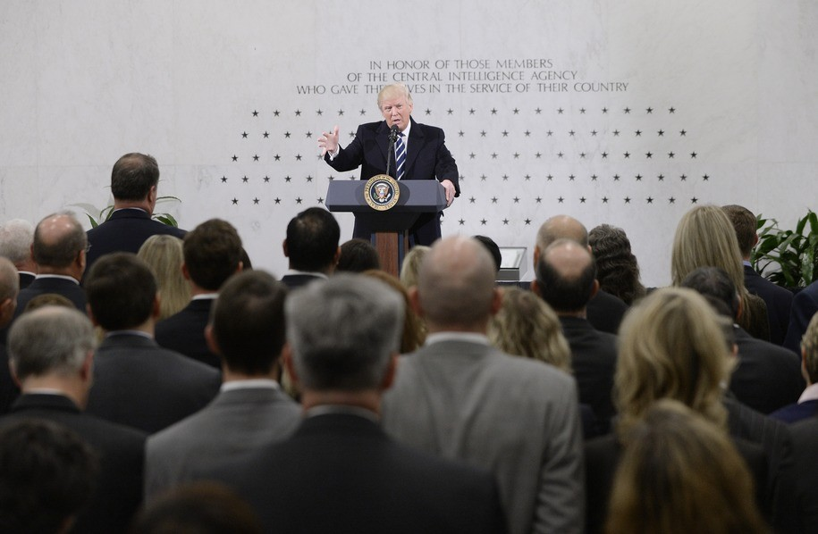 LANGLEY, VA - JANUARY 21: US President Donald Trump speaks at the CIA headquarters on January 21, 2017 in Langley, Virginia .  Trump spoke with about 300 people in his first official visit with a government agaency.  (Photo by Olivier Doulier - Pool/Getty Images)