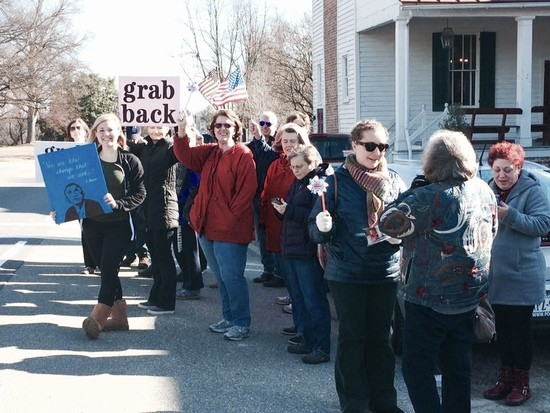 protesters outside Dave Brat fundraiser