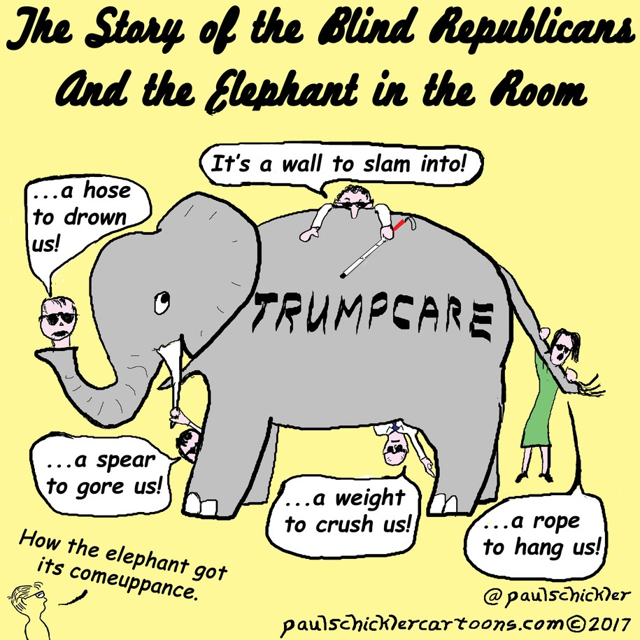 cartoon the story of the blind republicans and the elephant in