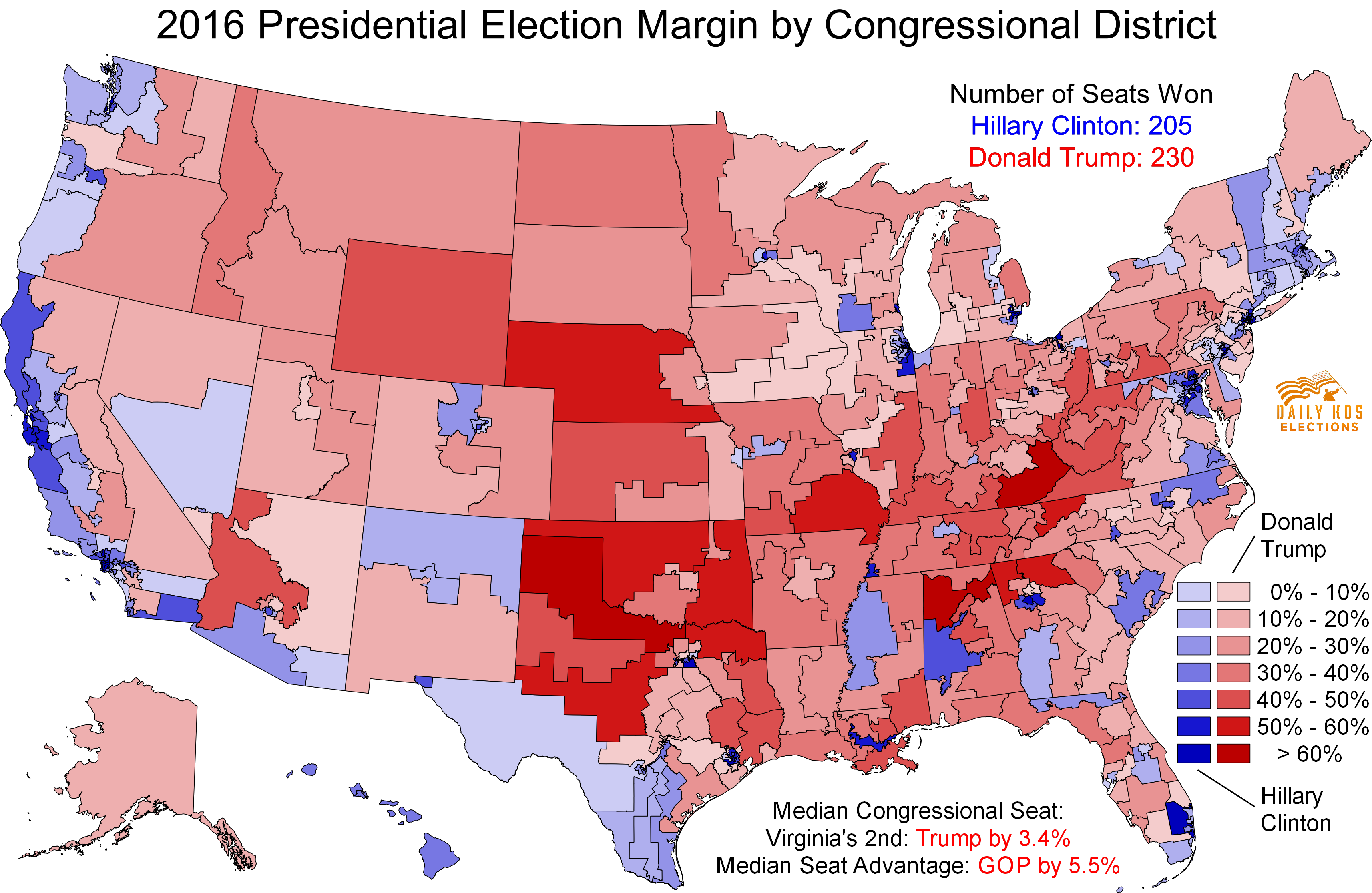 Daily Kos Elections Presents The Presidential Election - Map of us without electoral college 2016