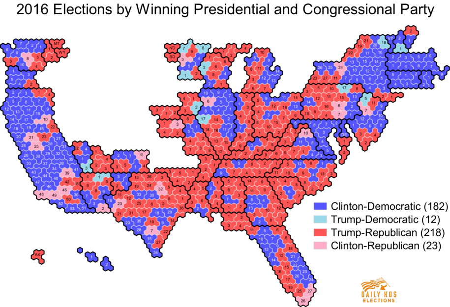 Daily Kos Elections Presidential Results By Congressional - 2016 election results us map by county