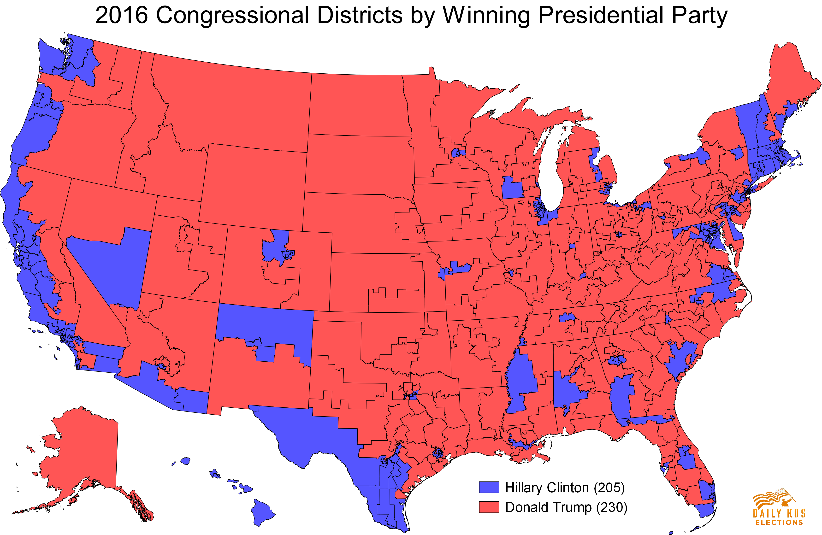 despite losing the national popular vote by  percent donald trumpcarried  congressional districts and hillary clinton just  as shownon the map . daily kos elections presents the  presidential election