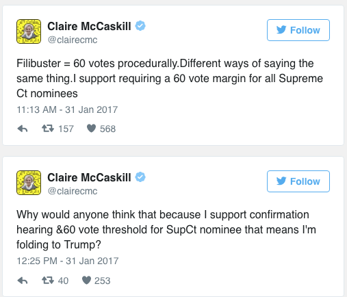 Judicial Activism And Filibuster >> MO-Sen: It Took Twitter Activism To Push McCaskill (D) On Supreme Court Fight, Now Keep It Going
