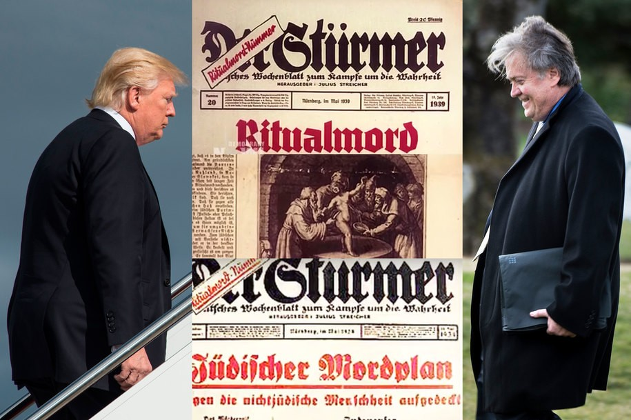 Donald Trump and Steven Bannon with antisemitic Nazi newspaper Der Stürmer