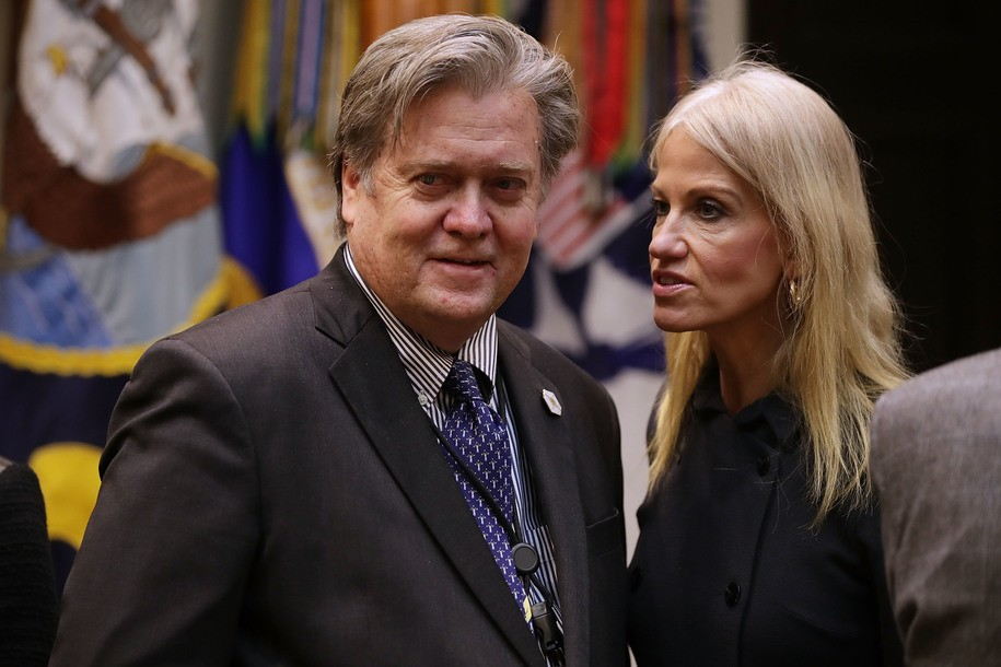 WASHINGTON, DC - JANUARY 31:  White House Chief Strategist Steve Bannon (L) and Counselor to the President Kellyanne Conway wait for the arrival of U.S. President Donald Trump for a meeting on cyber security in the Roosevelt Room at the White House January 31, 2017 in Washington, DC. Citing the hack of computers at the Democratic National Committee by Russia, Trump said that the private and public sectors must do more to prevent and protect against cyber attacks.  (Photo by Chip Somodevilla/Getty Images)