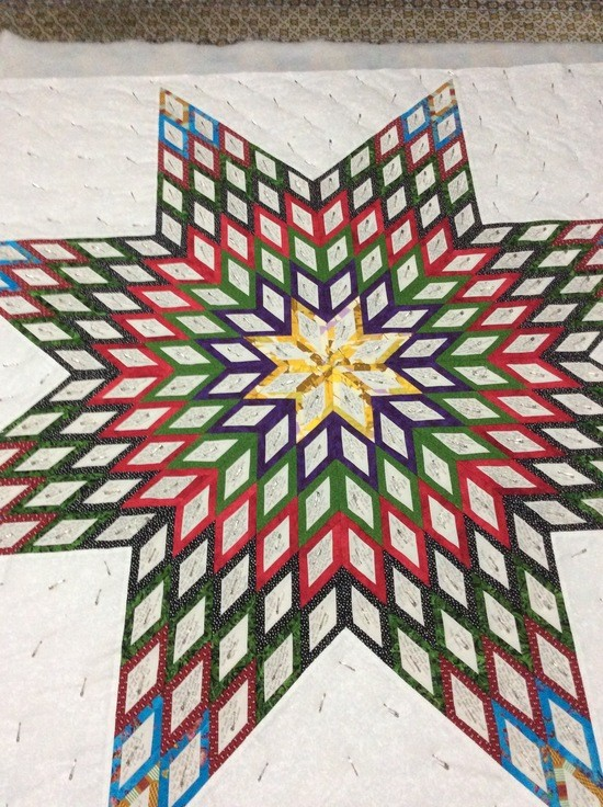 Mother Emanuel star quilt, basted
