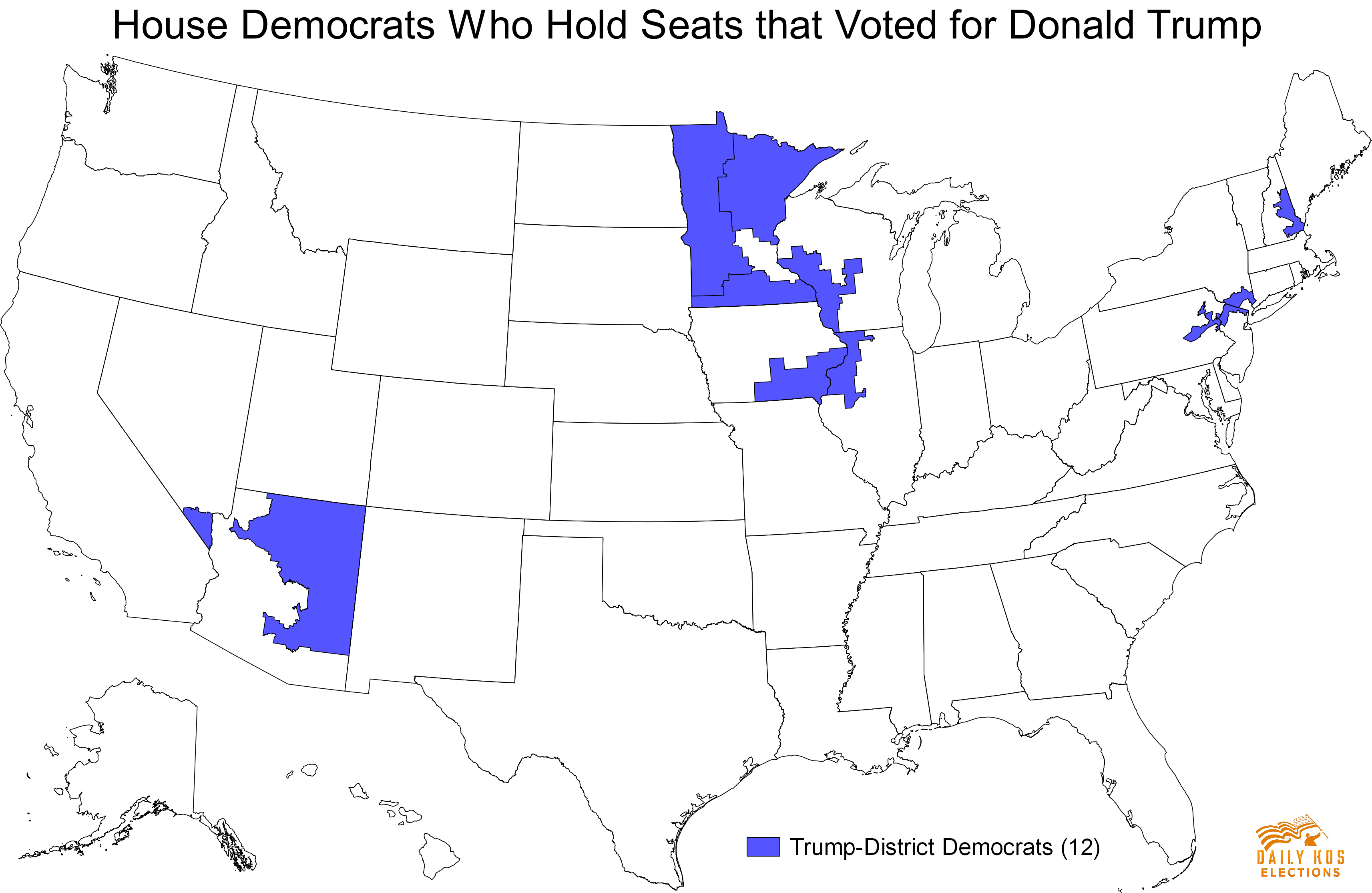 These Democrats Hold Congressional Districts That Voted For - Trump hair us map
