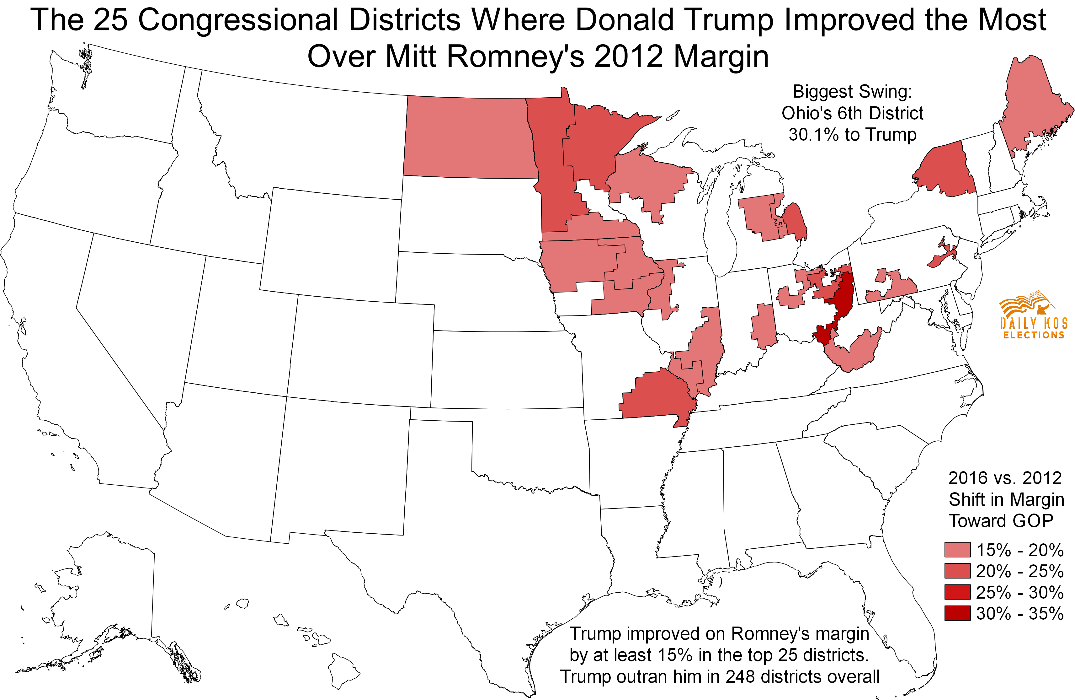 These Congressional Districts Saw The Biggest Swing Toward - Us congressional districts map ohio