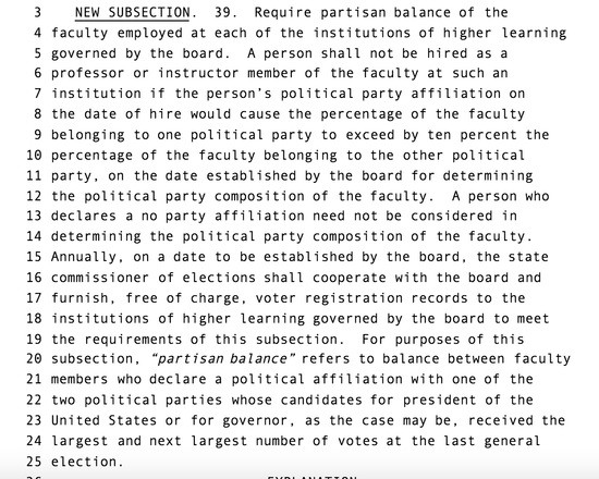 "screenshot of an Iowa bill requiring ""partisan balance"" at public universities"