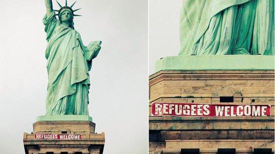 Statue of Liberty with banner placed by protesters Feb. 19 2017