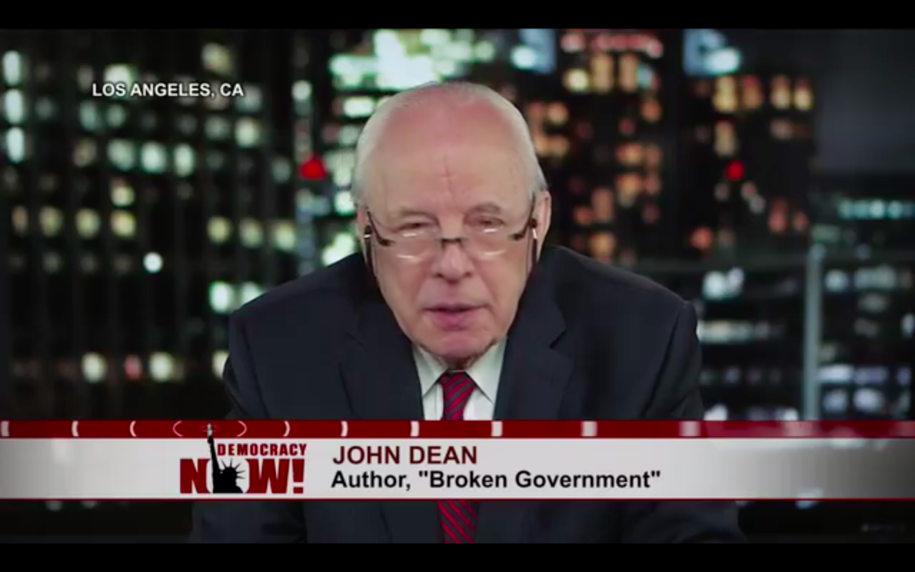 "Screenshot of Jean Dean, former Nixon White House counsel and author of ""Broken Government"" on Democracy Now! with Amy Goodman."