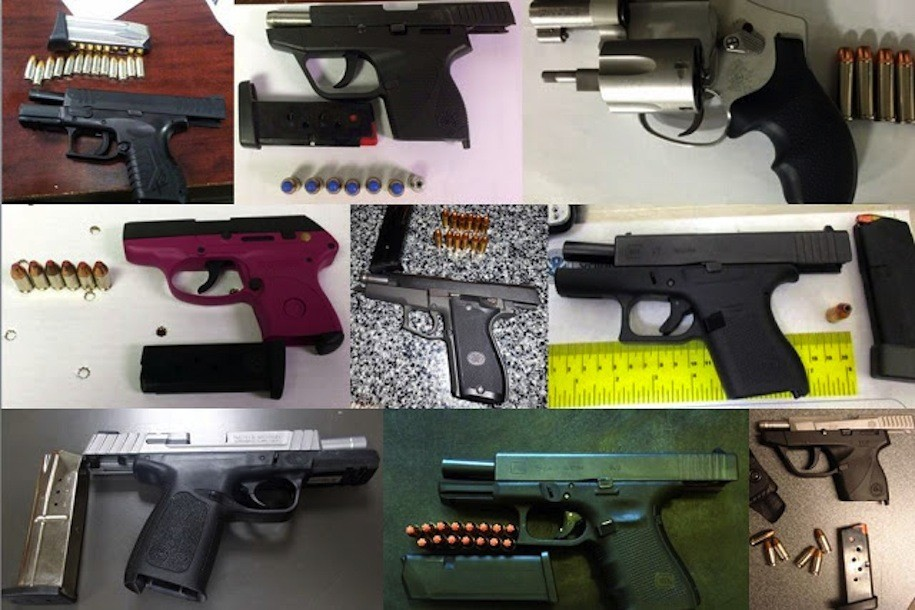Nine of 52 guns discovered in carry-on bags by TSA agents across the country, during the week of Feb. 6-12, 2017.