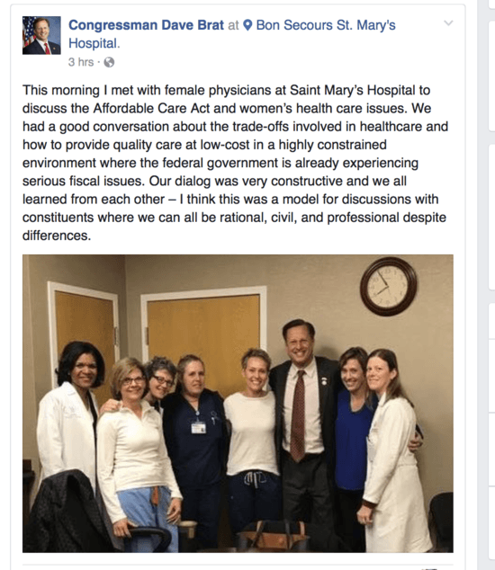 Congressman Dave Brat's Facebook post after a meeting on 3/3/17