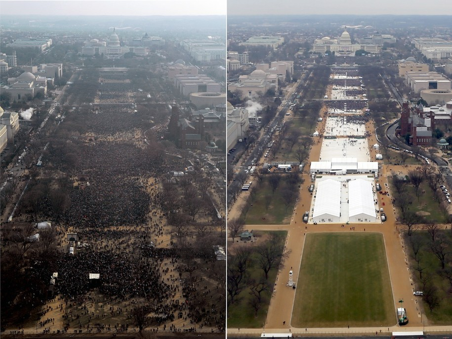 Aerial shots of the crowds at the 2009 and 2017 inaugurations. 2009 is much, much bigger.