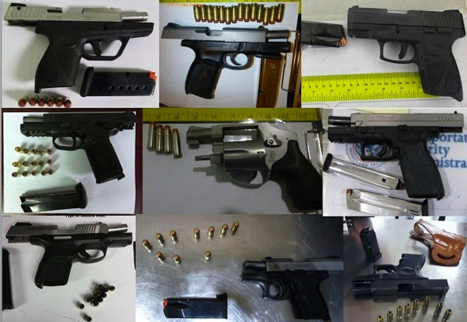 Nine of the 61 guns discovered by TSA agents at airports across the country, during the week of February 13-19, 2017.