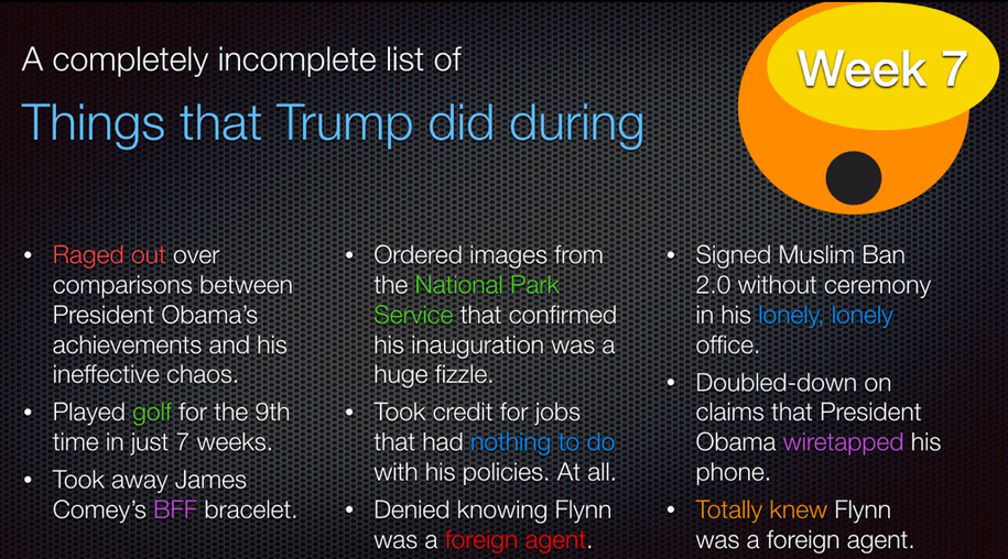 "Trump ""achievements"" in week 7"