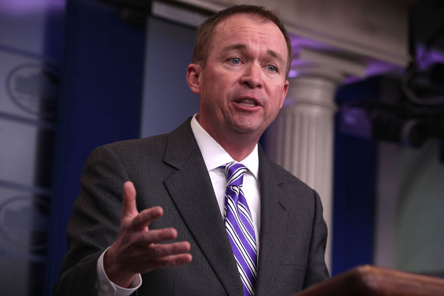 WASHINGTON, DC - FEBRUARY 27:  White House Budget Director Mick Mulvaney speaks during a White House daily briefing at the James Brady Press Briefing Room February 27, 2017 at the White House in Washington, DC. Mulvaney answers questions regarding the budget proposal from the Trump Administration.  (Photo by Alex Wong/Getty Images)