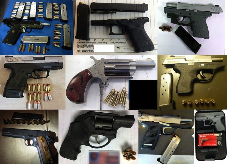 Ten of the 79 guns discovered by TSA agents at airports across the country, during the week of February 20-26,2017.